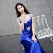 Korean fashion show thin elegant dress lace sequins party dress bridesmaid dress evening dress party everyday
