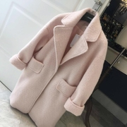 Autumn and winter season are Korean pink wool woolen coat, long loose cocoon type wool coat