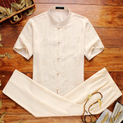 Men's cotton short sleeved summer costume old clothes grandpa linen suit in the elderly with summer with Dad