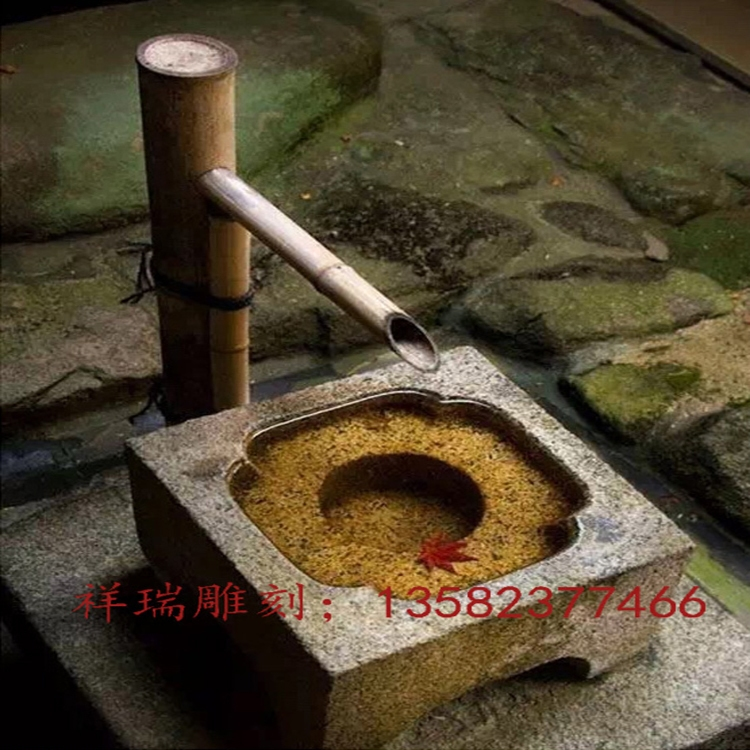 Stone Fishbowl Flower Pot Japanese Running Water Pot Outdoor Courtyard Stone Pool Fountain Water Landscape Decoration Stone Carving Groove
