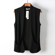 The summer men's knitted cardigan sleeveless vest Korean fashion leisure vest coat thin cloak personality