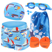 Children swimming goggles cap five piece + + boxer Boy Swimming Trunks Swimsuit male child baby