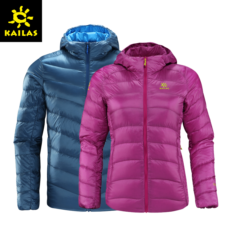 [The goods stop production and no stock]Autumn and winter new Kaile stone down jacket men and women Slim hooded outdoor sports down jacket coat windproof warm men