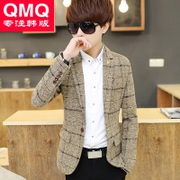 Korean male slim casual Plaid suit plus velvet suit coat young men fall thick wool suit