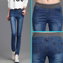 Elastic buff trousers children with velvet girls jeans feet Korean wave in autumn and winter plus velvet padded trousers