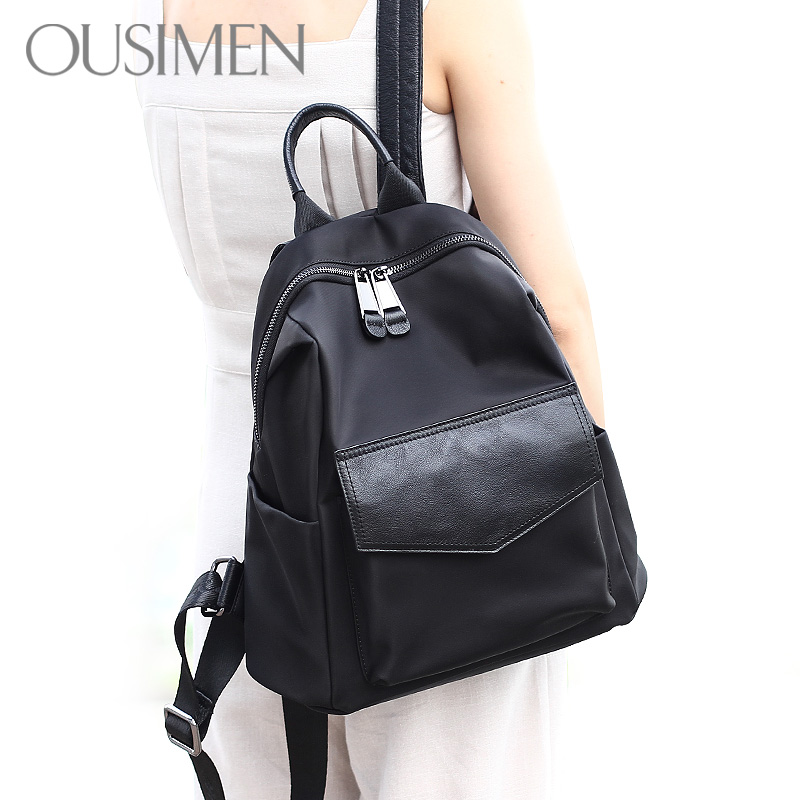Ou Siman shoulder bag female leather 2017 new Korean version of the wild 2018 mother Ms. backpack female bag