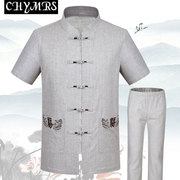 The old summer new Chinese men's Linen Shirt China wind father put men's suits in Han Costume