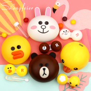 Take 1 2 yellow duck bear chicken contact glasses box for cosmetic contact lenses box partner double box tweezers