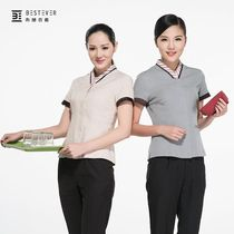 Hotel Dining Room Attendant Cleaning Work Clothes Short Sleeve Beauty Salon Apparel Housekeeping Summer Dresses Women