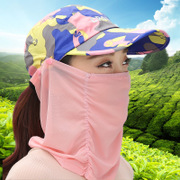 Sun hat riding summer duck tongue neck face covering visor folding outdoor UV sun hat electric car