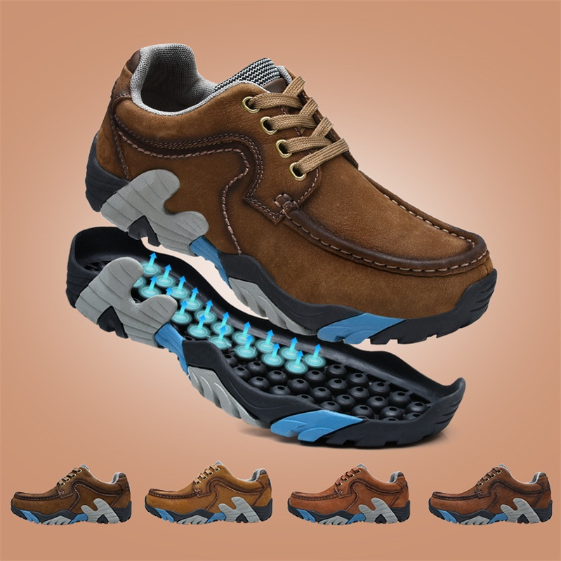 Le Jiatuo Men's Shoes New Outdoor Leisure Shoes in Autumn and Winter Men's Mountaineering Shoes Non-skid Outdoor Shoes Large Size Hiking Shoes