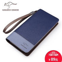 Kangaroo wallet men 's clutch bag long hit the color handbags handbags large - capacity wallet wallet zipper bag