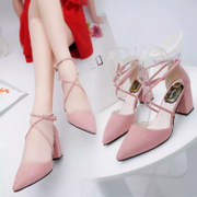 In the spring of 2017 new Korean high heels with the tip in rough suede shoes with cross straps Rome women shoes