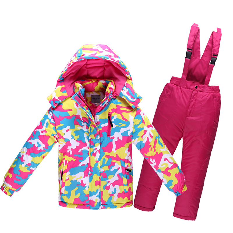 Children's Skiing Suit Thickened Boys'and Girls' Waterproof and Warm Outdoor Mountaineering Suit in Winter