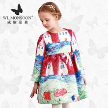Западный стиль Девочки платье весна длинный рукав большой Дети Принцесса платье бренда детской одежды граффити Baby девочки юбки