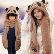 Scofie Korean winter Cute Panda thickened comfortable warmth female Collar Scarf Hat Gloves three piece