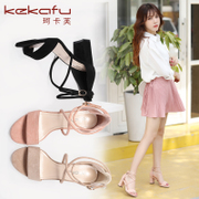 Rome Ke Kafu sandals female student summer 2017 new all-match rough heels with female shoe strap word