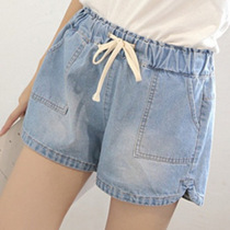 Summer of 200 kg mm XL elastic waist fat and fat slim oversized denim shorts hot pants tide girls