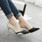 Nude pointed heels sexy fashion shoes with fine spring and summer white cat with small code 33 all-match Crocs
