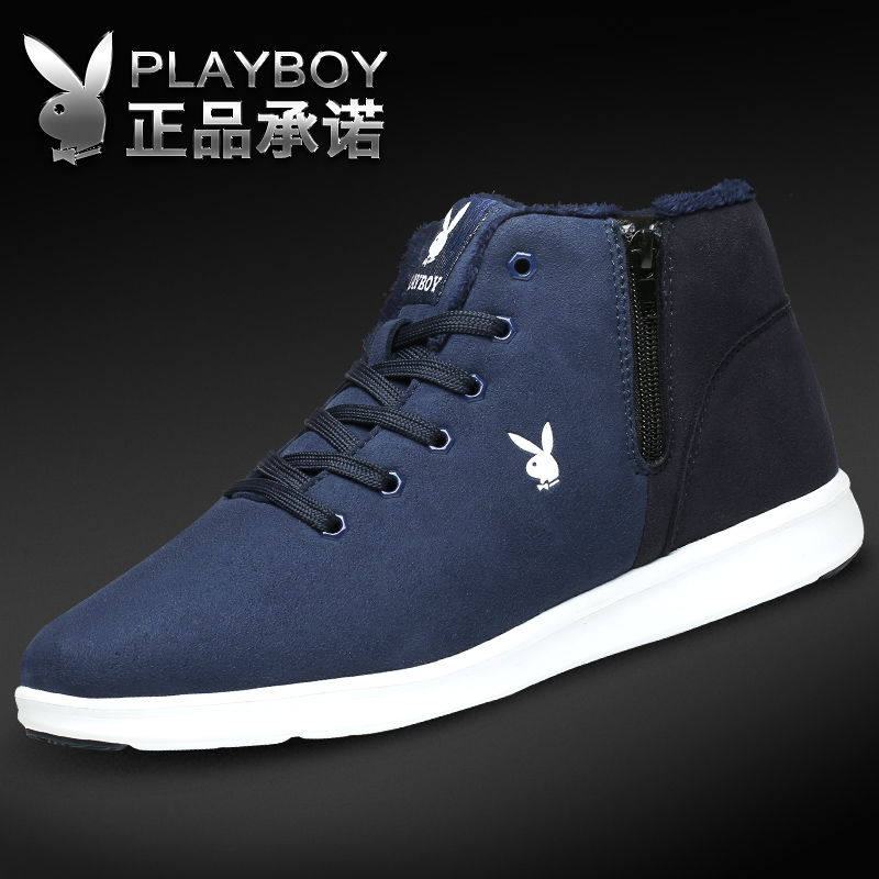 Playboy Men's Shoes New Winter Cotton Shoes with Fleece Heating Board Shoes British Trend Outdoor Large-Size High-Up Boots