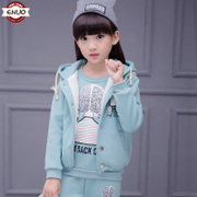 Girls wear suit 2017 winter attire children with baby cashmere long sleeved sweater hooded suit three