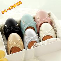 2017 new spring and autumn leather Korean version of Joker bow-tie Beanie MOM and children shoes flat shoes women shoes