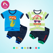 Rich boy summer cotton short sleeved T-shirt suit children baby pants shorts two sets of 1