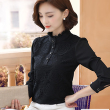 2018 autumn new Korean version, black collars, lace, blouse, chiffon blouse, thin and velvet Jersey.