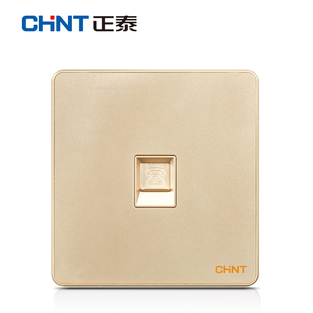 [The goods stop production and no stock]Zhengtai Electric 86 type NEW6W light champagne gold information telephone socket without border switch panel