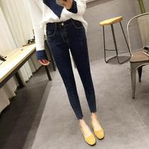 Korean version of the new slim wave female students slimming jeans feet pencil trousers washed chinos
