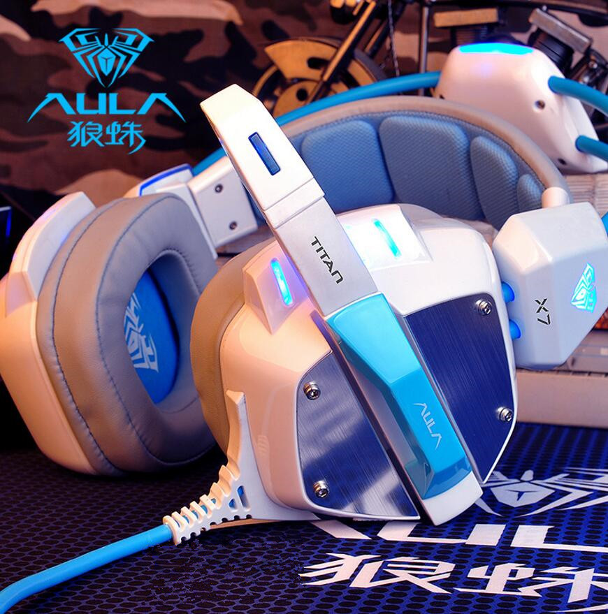 AULA/Spider X7 Game Headphones with Mike Wind Internet Cafe Online Cafe Competition Headset Heavy Bass Vibration USB7.1 Channel Chicken Jedi Survival/cf/lol Music Headphones