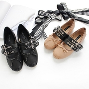 Shipping Korean summer autumn ballet shoes shallow mouth flat bow roundheaded strap shoes wear size two
