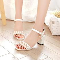 Sweet simplicity summer 2017 New Roman sandal buckle chunky heels with middle school students in open-toed shoes in womens shoes