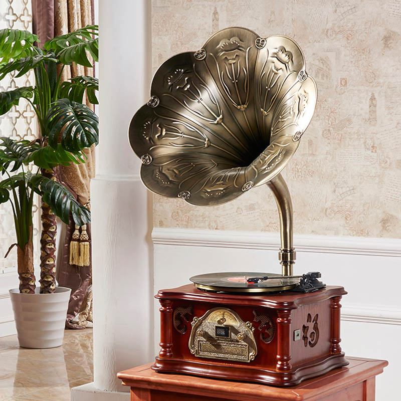 Ming Ling 110 old phonograph loudspeaker antique retro living room furnishing new black tape recorder