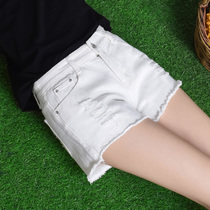 High waist shorts women summer 2017 new relaxed casual holes elastic denim hot pants a white wide-leg pants