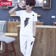 Summer youth short sleeved t-shirt men's suits, a set of high school students summer men's clothes sportswear trousers