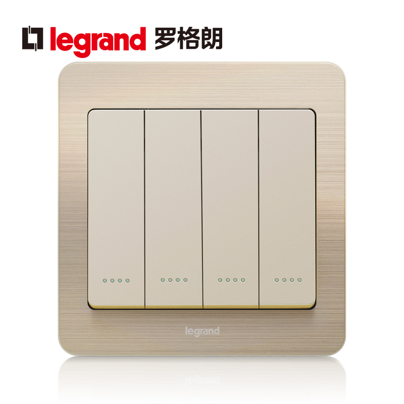 Legrand switch socket panel code fine gold four billing control with fluorescence four single-pole power supply type 86