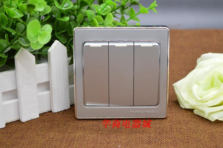 Eastern China 86 Type Three Open Double Control Switch Socket Panel 86 Type Silver 3 Open Double Wall Bedside Hot Selling