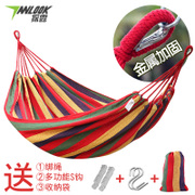 Explore a single double canvas thickening hammock outdoor camping indoor leisure swing rope tied high load bearing