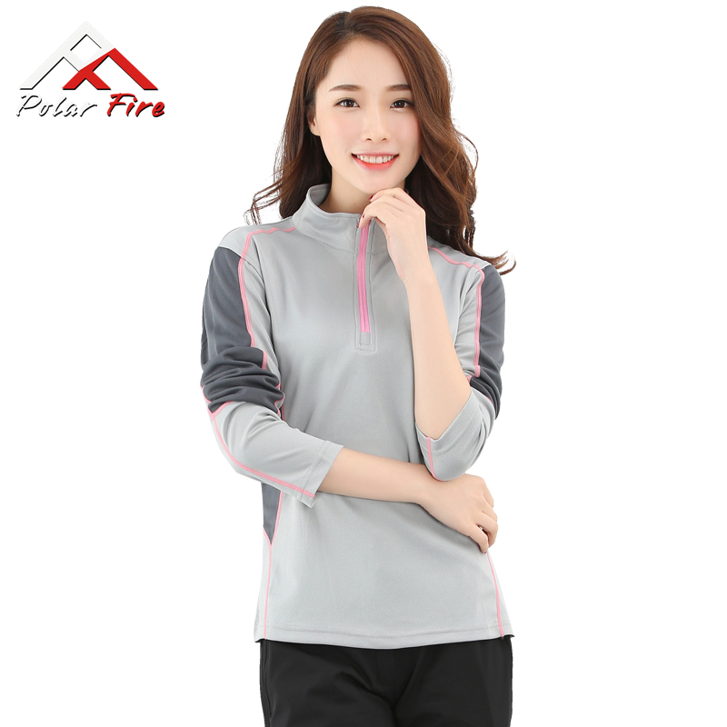 Polar Fire spring and summer outdoor sports quick-drying T-shirt female models collar quick-drying clothing men's long-sleeved running sweat-absorbent fast drying