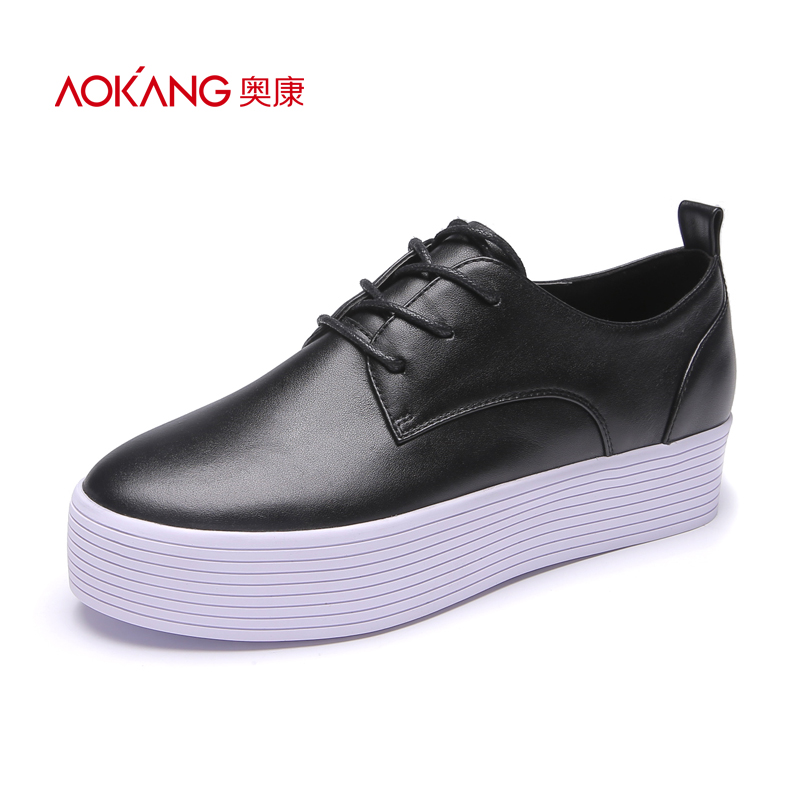 Aokang Women's Shoes Spring Fashion Leisure Shoes Comfortable Thick-soled Pure-color College Sports Lace Single Shoe Women