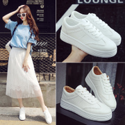 Spring all-match white lace up shoes shoes Korean students white canvas shoes soled shoes flat casual shoes