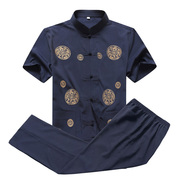 The elderly men's clothes old dad grandpa summer men's costume suit short sleeved in Hong Huan
