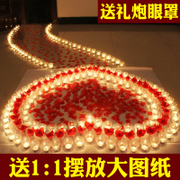 Send romantic love heart-shaped candles drawings rose birthday package creative courtship courtship scene
