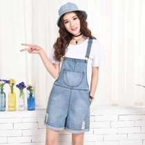 Know denim romper shorts women summer 2017 Korean students loose bib versatile wide leg pants women jumpsuits