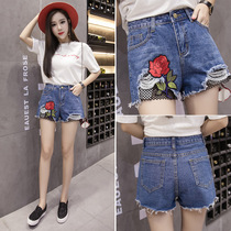 High waist corridor denim shorts female summer tide furrows wide leg fat mm fattening large loose waist loose aa hot pants