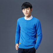 The spring and autumn men sweater fashion slim thin sweater knit collar Pullover youth solid backing sweater