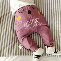 Baby Baby spring Korean men and women open crotch trousers baby pants children easing childrens cartoon pants