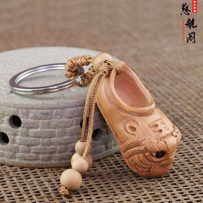 Taishan Cihang Pavilion Kaiguang Peach Wood Tiger Head Shoes Prevent Villagers from Stepping on Villagers with Peach Wood Sword Keys, Tiger Head Shoes and Hanging Parts