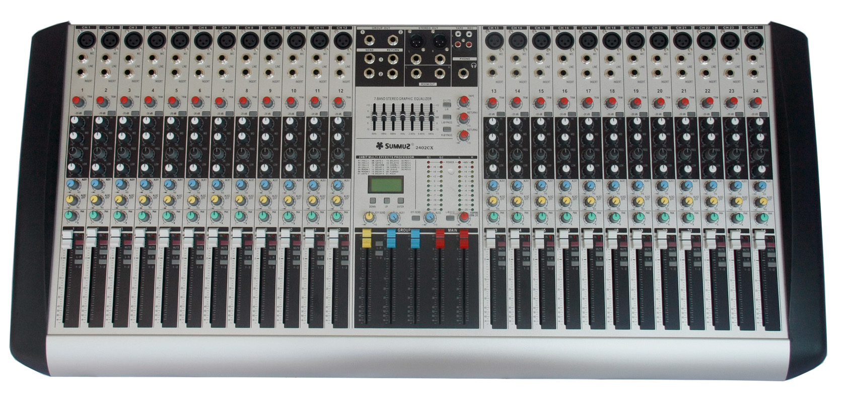 [The goods stop production and no stock]Summuz/Senma 2402CX Professional 24-Channel DSP Digital Effect Two-Marshalling 7-Segment Balanced Mixer
